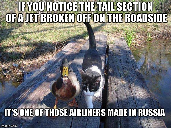 Advice mallard to cat | IF YOU NOTICE THE TAIL SECTION OF A JET BROKEN OFF ON THE ROADSIDE IT'S ONE OF THOSE AIRLINERS MADE IN RUSSIA | image tagged in advice mallard to cat | made w/ Imgflip meme maker