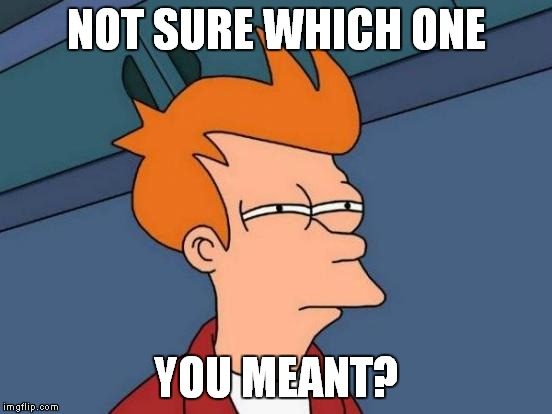 Futurama Fry Meme | NOT SURE WHICH ONE YOU MEANT? | image tagged in memes,futurama fry | made w/ Imgflip meme maker