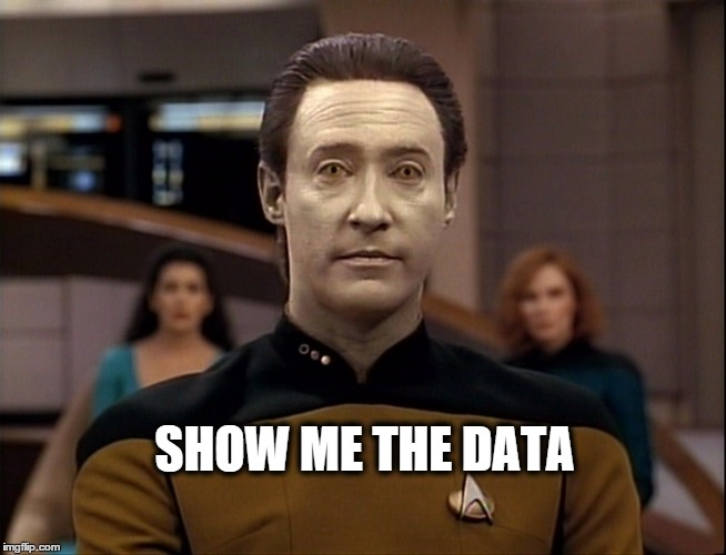 Data | SHOW ME THE DATA | image tagged in data | made w/ Imgflip meme maker