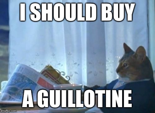 I Should Buy a Boat Cat | I SHOULD BUY A GUILLOTINE | image tagged in i should buy a boat cat | made w/ Imgflip meme maker