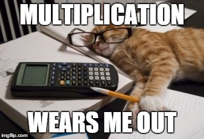 Crunching Numbers | MULTIPLICATION WEARS ME OUT | image tagged in crunching numbers | made w/ Imgflip meme maker