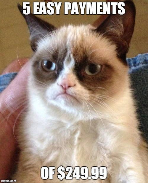 Grumpy Cat Meme | 5 EASY PAYMENTS OF $249.99 | image tagged in memes,grumpy cat | made w/ Imgflip meme maker