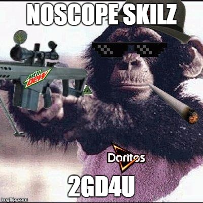mlg monkey | NOSCOPE SKILZ 2GD4U | image tagged in mlg monkey | made w/ Imgflip meme maker