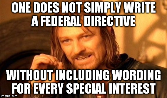 One Does Not Simply Meme | ONE DOES NOT SIMPLY WRITE A FEDERAL DIRECTIVE WITHOUT INCLUDING WORDING FOR EVERY SPECIAL INTEREST | image tagged in memes,one does not simply | made w/ Imgflip meme maker