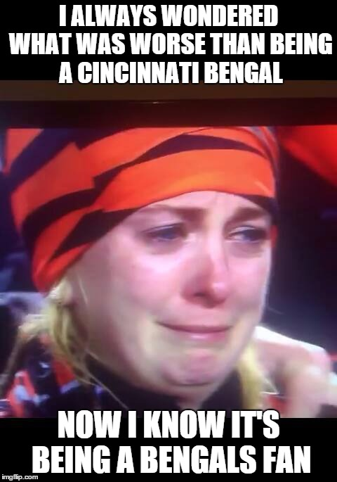 bengals fans crying | I ALWAYS WONDERED WHAT WAS WORSE THAN BEING A CINCINNATI BENGAL NOW I KNOW IT'S BEING A BENGALS FAN | image tagged in bengals fans crying | made w/ Imgflip meme maker