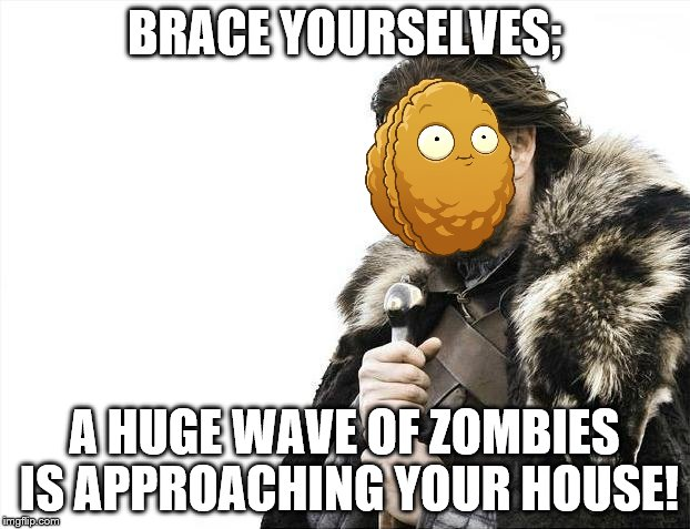 Game of Brains | BRACE YOURSELVES; A HUGE WAVE OF ZOMBIES IS APPROACHING YOUR HOUSE! | image tagged in memes,brace yourselves x is coming,pvz,pvz2,popcap | made w/ Imgflip meme maker