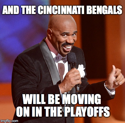 Bungles | AND THE CINCINNATI BENGALS WILL BE MOVING ON IN THE PLAYOFFS | image tagged in steve harvey universe | made w/ Imgflip meme maker