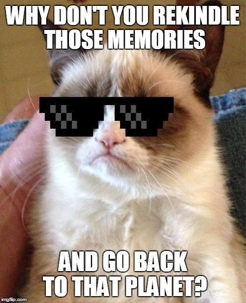 Grumpy Cat Meme | WHY DON'T YOU REKINDLE THOSE MEMORIES AND GO BACK TO THAT PLANET? | image tagged in memes,grumpy cat | made w/ Imgflip meme maker