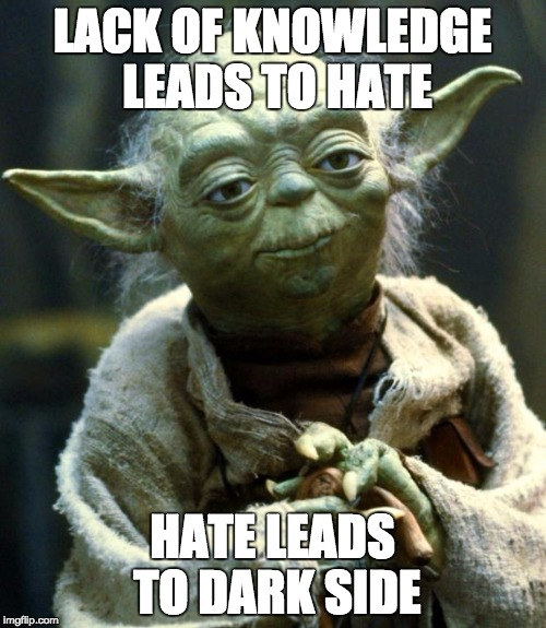 Star Wars Yoda Meme | LACK OF KNOWLEDGE LEADS TO HATE HATE LEADS TO DARK SIDE | image tagged in memes,star wars yoda | made w/ Imgflip meme maker