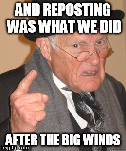 Back In My Day Meme | AND REPOSTING WAS WHAT WE DID AFTER THE BIG WINDS | image tagged in memes,back in my day | made w/ Imgflip meme maker