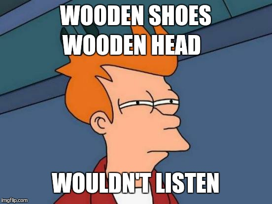 Futurama Fry Meme | WOODEN SHOES WOULDN'T LISTEN WOODEN HEAD | image tagged in memes,futurama fry | made w/ Imgflip meme maker