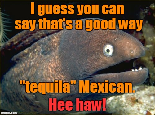 "I guess you can say that's a good way Hee haw! ""tequila"" Mexican. 