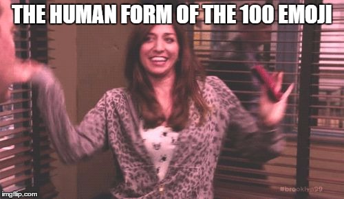 Chelsea Peretti - Brooklyn Nine-Nine | THE HUMAN FORM OF THE 100 EMOJI | image tagged in chelsea,brooklyn nine nine,chelsea peretti,andy samburg,100,gina linetti | made w/ Imgflip meme maker