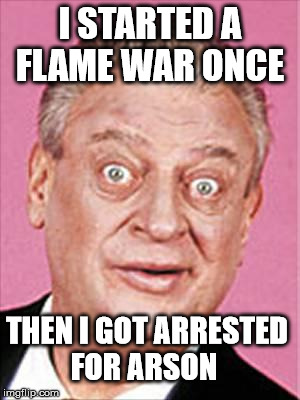 rodney dangerfield | I STARTED A FLAME WAR ONCE THEN I GOT ARRESTED FOR ARSON | image tagged in rodney dangerfield | made w/ Imgflip meme maker