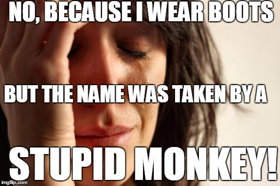 First World Problems Meme | NO, BECAUSE I WEAR BOOTS BUT THE NAME WAS TAKEN BY A STUPID MONKEY! | image tagged in memes,first world problems | made w/ Imgflip meme maker