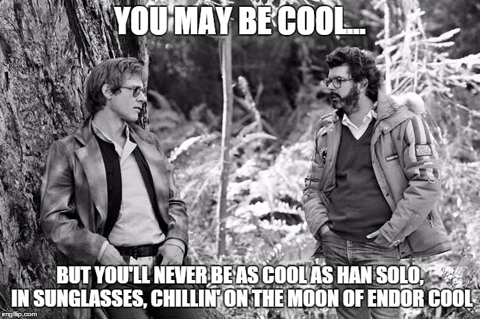 cool like carbonite | YOU MAY BE COOL... BUT YOU'LL NEVER BE AS COOL AS HAN SOLO, IN SUNGLASSES, CHILLIN' ON THE MOON OF ENDOR COOL | image tagged in uber cool han | made w/ Imgflip meme maker