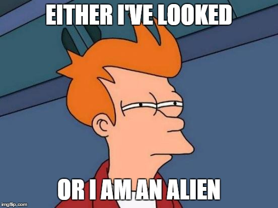 Futurama Fry Meme | EITHER I'VE LOOKED OR I AM AN ALIEN | image tagged in memes,futurama fry | made w/ Imgflip meme maker