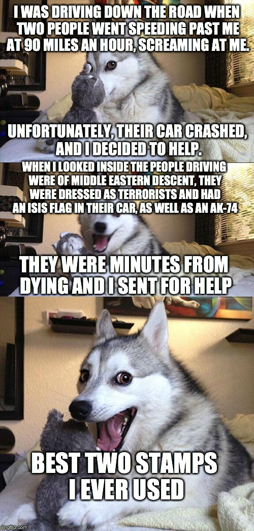 Bad Pun Dog Meme | I WAS DRIVING DOWN THE ROAD WHEN TWO PEOPLE WENT SPEEDING PAST ME AT 90 MILES AN HOUR, SCREAMING AT ME. WHEN I LOOKED INSIDE THE PEOPLE DRIV | image tagged in memes,bad pun dog | made w/ Imgflip meme maker