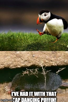 Dancing tires him out - he's puffin' |  I'VE HAD IT WITH THAT TAP DANCING PUFFIN! | image tagged in memes,unpopular opinion puffin,mole,dancing | made w/ Imgflip meme maker
