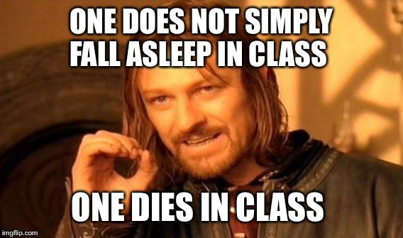 One Does Not Simply | ONE DOES NOT SIMPLY FALL ASLEEP IN CLASS ONE DIES IN CLASS | image tagged in memes,one does not simply | made w/ Imgflip meme maker