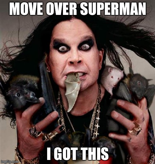 ozzy | MOVE OVER SUPERMAN I GOT THIS | image tagged in ozzy | made w/ Imgflip meme maker