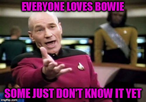 Picard Wtf Meme | EVERYONE LOVES BOWIE SOME JUST DON'T KNOW IT YET | image tagged in memes,picard wtf | made w/ Imgflip meme maker