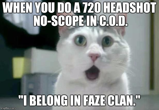 "OMG Cat Meme |  WHEN YOU DO A 720 HEADSHOT NO-SCOPE IN C.O.D. ""I BELONG IN FAZE CLAN."" 