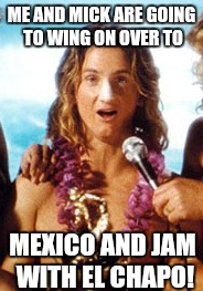 Hey Bud...Let's Party!! | ME AND MICK ARE GOING TO WING ON OVER TO MEXICO AND JAM WITH EL CHAPO! | image tagged in spicoli,el chapo | made w/ Imgflip meme maker