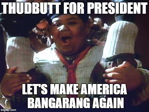 THUDBUTT FOR PRESIDENT LET'S MAKE AMERICA BANGARANG AGAIN | image tagged in hook,thudbutt,america,bangarang | made w/ Imgflip meme maker