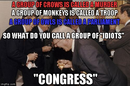 "Laughing Men In Suits Meme | A GROUP OF MONKEYS IS CALLED A TROOP ""CONGRESS"" A GROUP OF CROWS IS CALLED A MURDER A GROUP OF OWLS IS CALLED A PARLIAMENT SO WHAT DO YOU CA 