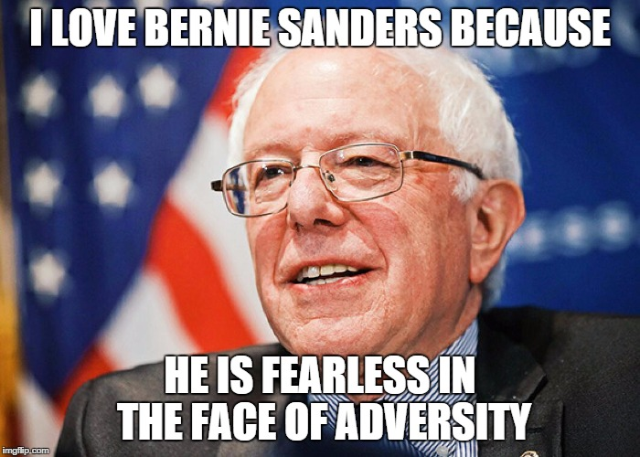 I LOVE BERNIE SANDERS BECAUSE; HE IS FEARLESS IN THE FACE OF ADVERSITY | image tagged in bernie sanders,vote bernie sanders,fearless | made w/ Imgflip meme maker