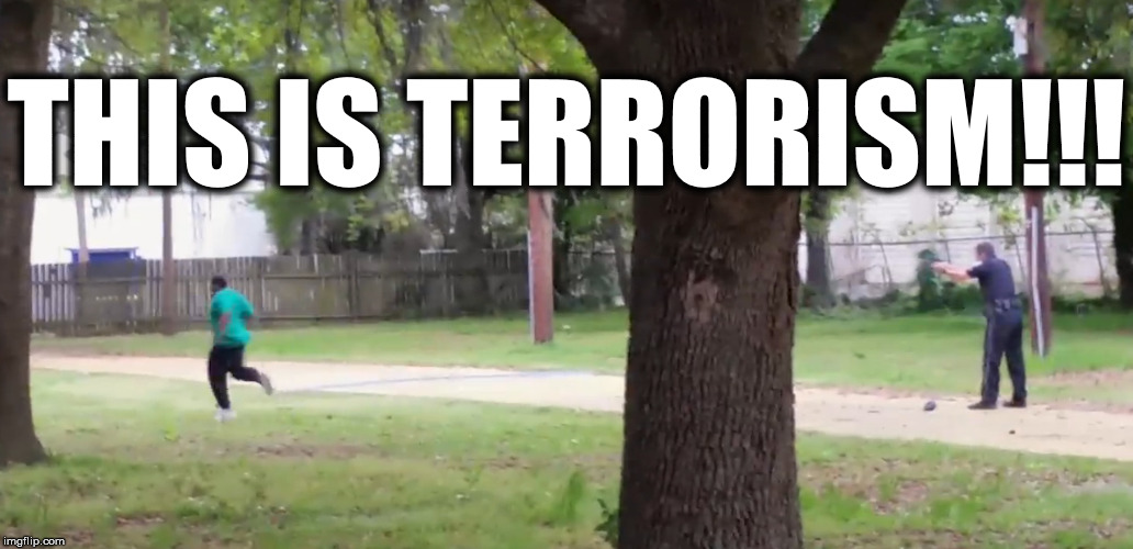 This is Terrorism | THIS IS TERRORISM!!! | image tagged in terrorism,police,police shooting,murder | made w/ Imgflip meme maker