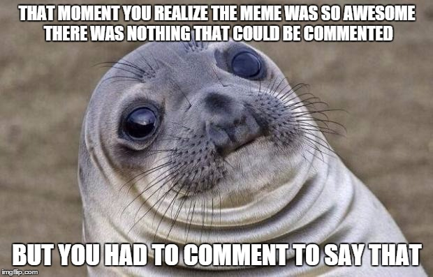 Awkward Moment Sealion Meme | THAT MOMENT YOU REALIZE THE MEME WAS SO AWESOME THERE WAS NOTHING THAT COULD BE COMMENTED BUT YOU HAD TO COMMENT TO SAY THAT | image tagged in memes,awkward moment sealion | made w/ Imgflip meme maker