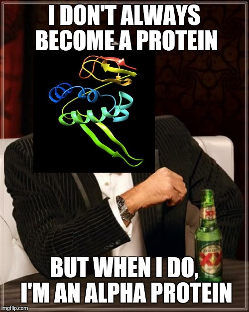 Look At Me I'm A Protein | I DON'T ALWAYS BECOME A PROTEIN BUT WHEN I DO, I'M AN ALPHA PROTEIN | image tagged in memes,the most interesting man in the world,became,become,alpha,protein | made w/ Imgflip meme maker