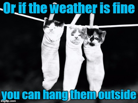 Or if the weather is fine you can hang them outside | made w/ Imgflip meme maker