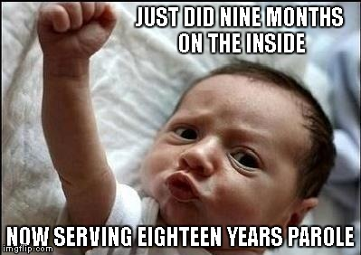 Most men spend the rest of their lives trying to violate parole. | JUST DID NINE MONTHS ON THE INSIDE NOW SERVING EIGHTEEN YEARS PAROLE | image tagged in stay strong baby,baby,funny,memes | made w/ Imgflip meme maker
