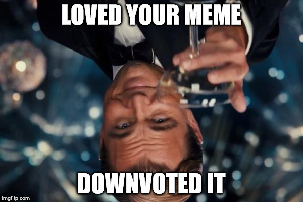 Leonardo Dicaprio Cheers Meme | LOVED YOUR MEME DOWNVOTED IT | image tagged in memes,leonardo dicaprio cheers | made w/ Imgflip meme maker