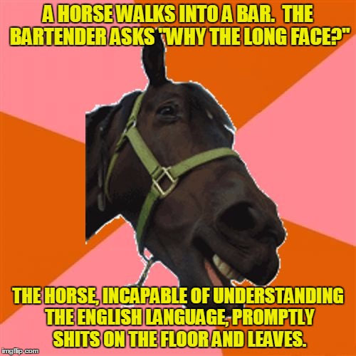 "Anti-Joke Horse | A HORSE WALKS INTO A BAR.  THE BARTENDER ASKS ""WHY THE LONG FACE?"" THE HORSE, INCAPABLE OF UNDERSTANDING THE ENGLISH LANGUAGE, PROMPTLY SHIT 