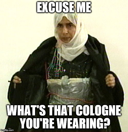 Isis Pinup | EXCUSE ME WHAT'S THAT COLOGNE YOU'RE WEARING? | image tagged in isis pinup | made w/ Imgflip meme maker