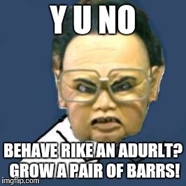 Kim Jong Il Y U No | Y U NO BEHAVE RIKE AN ADURLT? GROW A PAIR OF BARRS! | image tagged in memes,kim jong il y u no | made w/ Imgflip meme maker