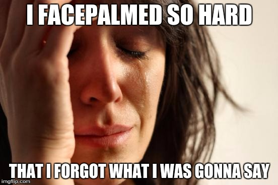First World Problems | I FACEPALMED SO HARD THAT I FORGOT WHAT I WAS GONNA SAY | image tagged in memes,first world problems | made w/ Imgflip meme maker