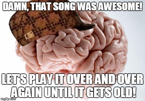 Scumbag Brain Meme | DAMN, THAT SONG WAS AWESOME! LET'S PLAY IT OVER AND OVER AGAIN UNTIL IT GETS OLD! | image tagged in memes,scumbag brain | made w/ Imgflip meme maker