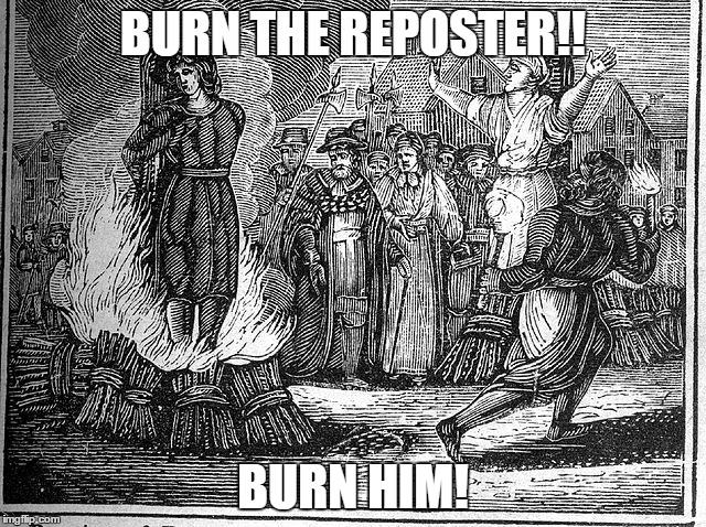 BURN THE REPOSTER!! BURN HIM! | made w/ Imgflip meme maker
