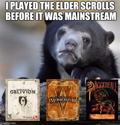 Mainstream Elder Scrolls is Skyrim and TES: Online for those who may not know. | I PLAYED THE ELDER SCROLLS BEFORE IT WAS MAINSTREAM | image tagged in memes,confession bear,elder scrolls | made w/ Imgflip meme maker