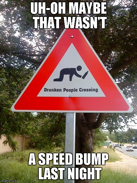 Damn, and I thought my town had a lot of drunks... | UH-OH MAYBE THAT WASN'T A SPEED BUMP LAST NIGHT | image tagged in drunk people crossing,memes,funny street signs,street signs,funny,funny signs | made w/ Imgflip meme maker