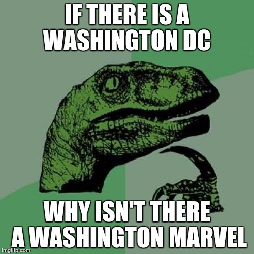 Philosoraptor Meme | IF THERE IS A WASHINGTON DC WHY ISN'T THERE A WASHINGTON MARVEL | image tagged in memes,philosoraptor | made w/ Imgflip meme maker