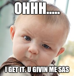 sas baby  | OHHH..... I GET IT. U GIVIN ME SAS | image tagged in memes,skeptical baby | made w/ Imgflip meme maker