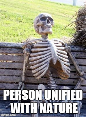 Waiting Skeleton Meme | PERSON UNIFIED WITH NATURE | image tagged in memes,waiting skeleton | made w/ Imgflip meme maker