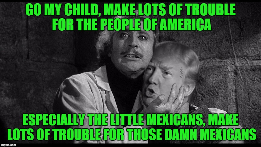 Trumpenstein | GO MY CHILD, MAKE LOTS OF TROUBLE FOR THE PEOPLE OF AMERICA ESPECIALLY THE LITTLE MEXICANS, MAKE LOTS OF TROUBLE FOR THOSE DAMN MEXICANS | image tagged in trumpenstein | made w/ Imgflip meme maker