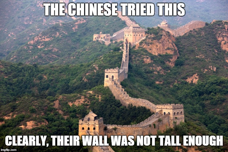THE CHINESE TRIED THIS CLEARLY, THEIR WALL WAS NOT TALL ENOUGH | made w/ Imgflip meme maker